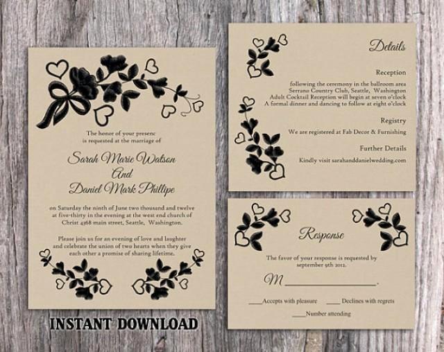 Rustic Wedding Invitation Templates Best Of Diy Lace Wedding Invitation Template Set Editable Word