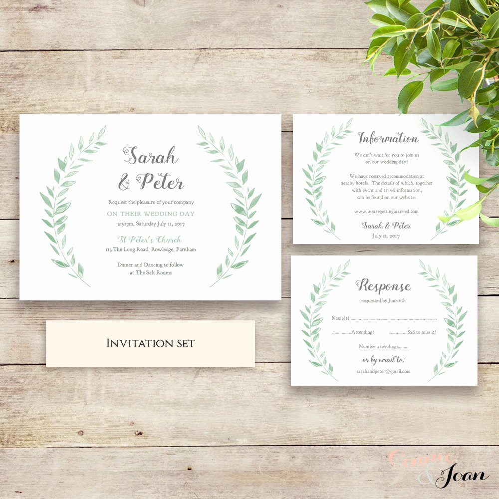 Rustic Wedding Invitation Templates Best Of Wedding Invitation Template Rustic Printable Invitation Set