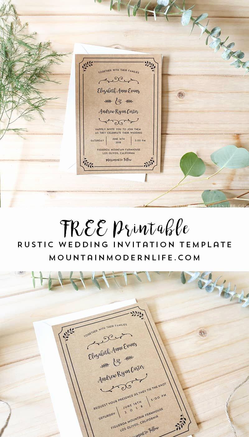 Rustic Wedding Invitation Templates Elegant Free Printable Wedding Invitation Template