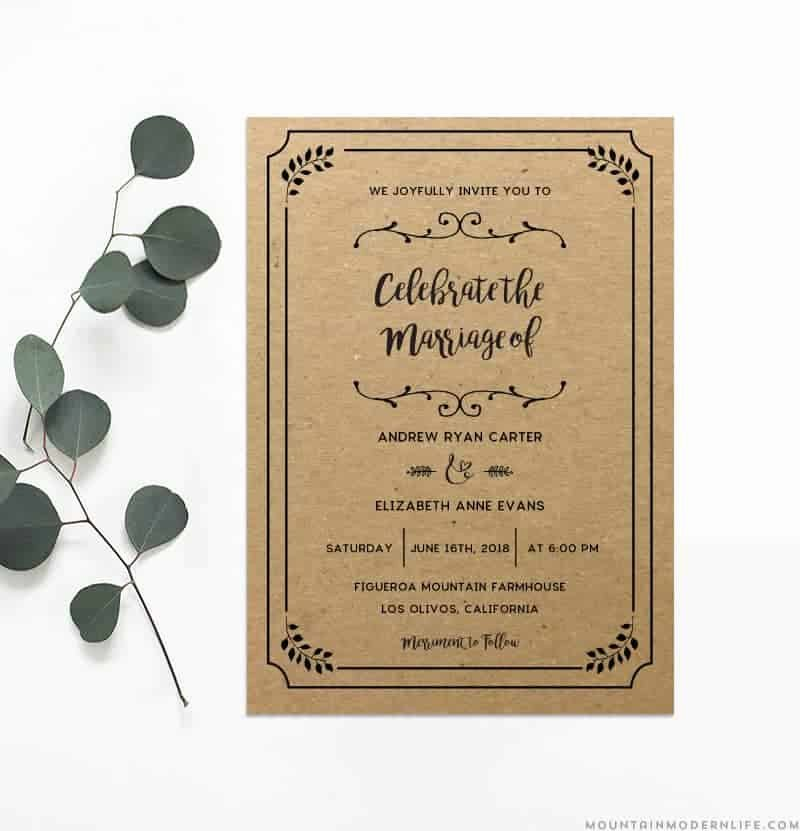 Rustic Wedding Invitation Templates Elegant Printable Diy Wedding Invitation Template