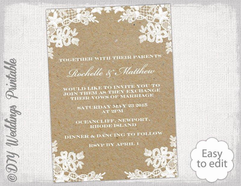 Rustic Wedding Invitation Templates Elegant Rustic Wedding Invitation Template Diy Rustic Lace