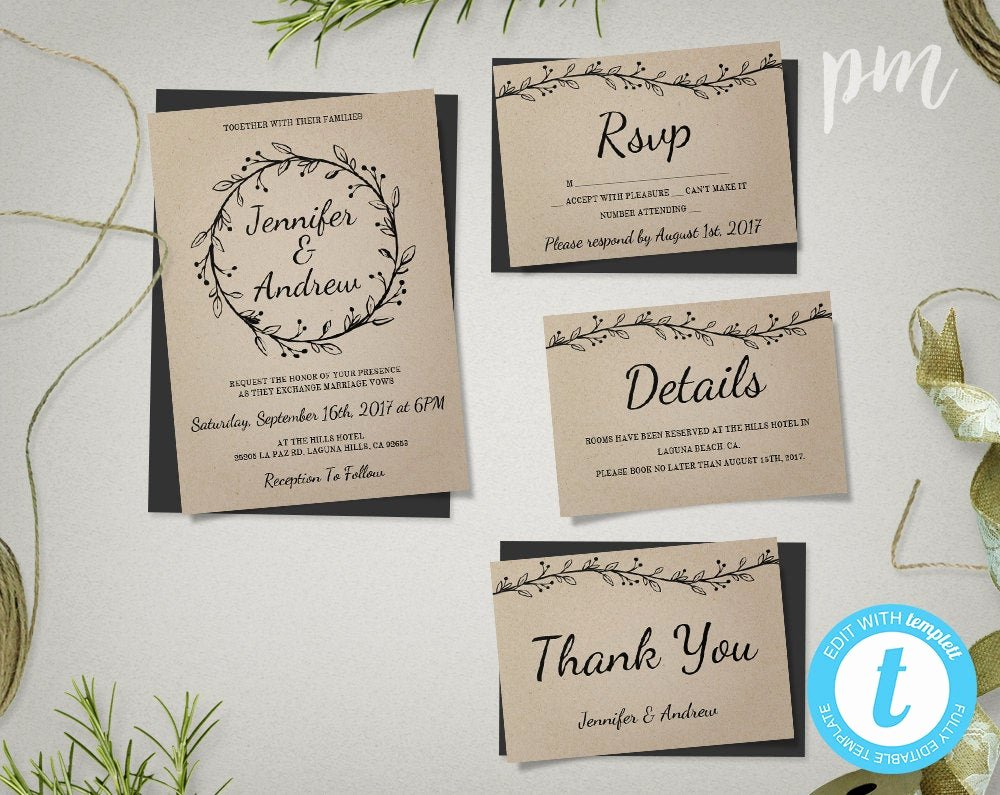 Rustic Wedding Invitation Templates Elegant Rustic Wedding Invitation Template Suite with Wreath Kraft