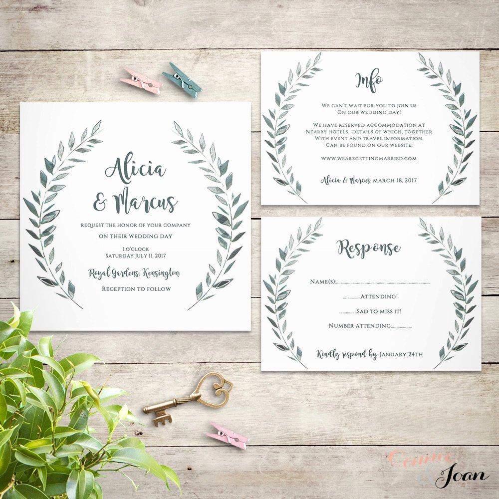Rustic Wedding Invitation Templates Elegant Wedding Invitation Template Rustic Printable by Connieandjoan