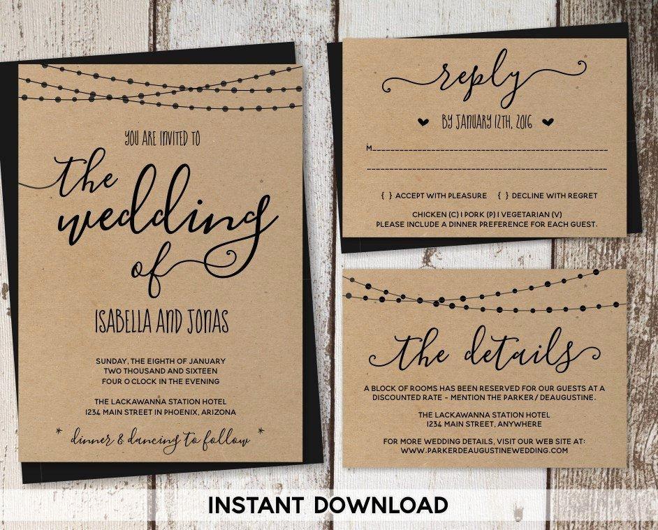 Rustic Wedding Invitation Templates Elegant Wedding Invitation Template Rustic Printable Set String