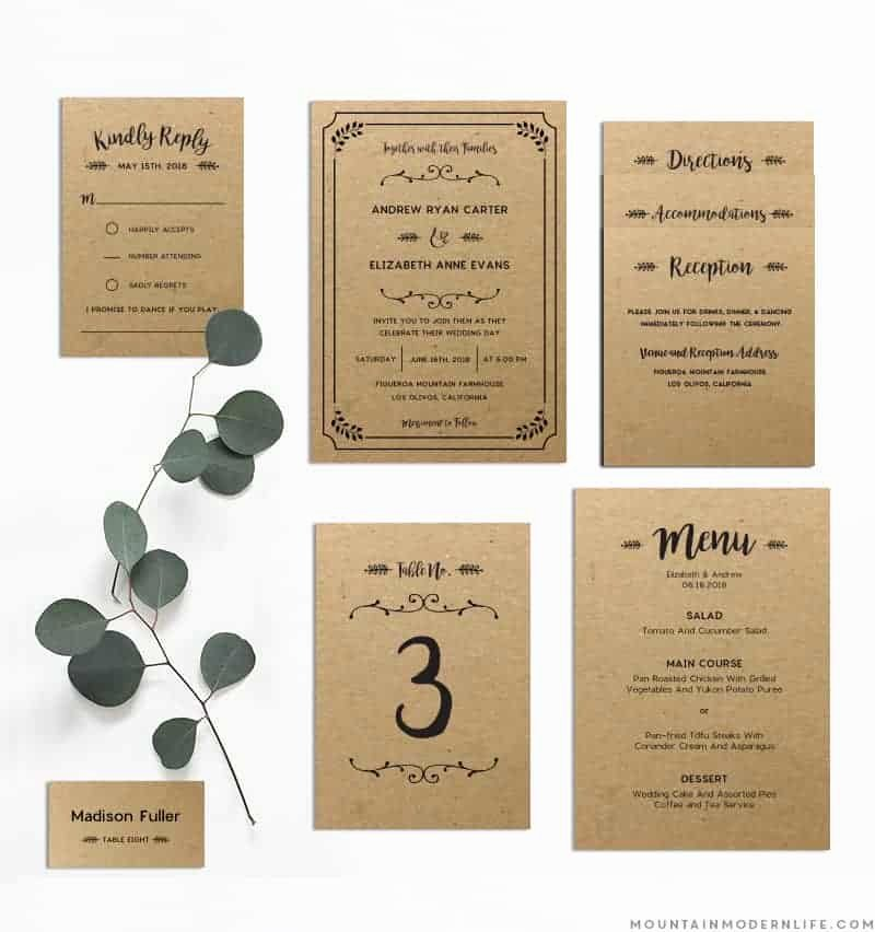 Rustic Wedding Invitation Templates Lovely Whimsical Rustic Diy Wedding Invitation Set