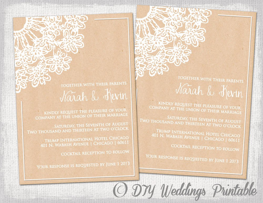 Rustic Wedding Invitation Templates Luxury Diy Rustic Wedding Invitations Template by