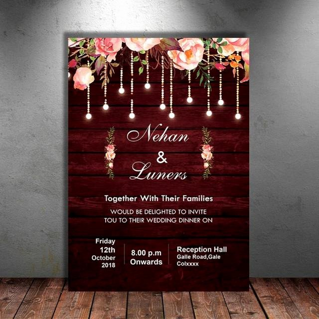 Rustic Wedding Invitation Templates Luxury Maroon Floral Rustic Wedding Invitation Template for Free