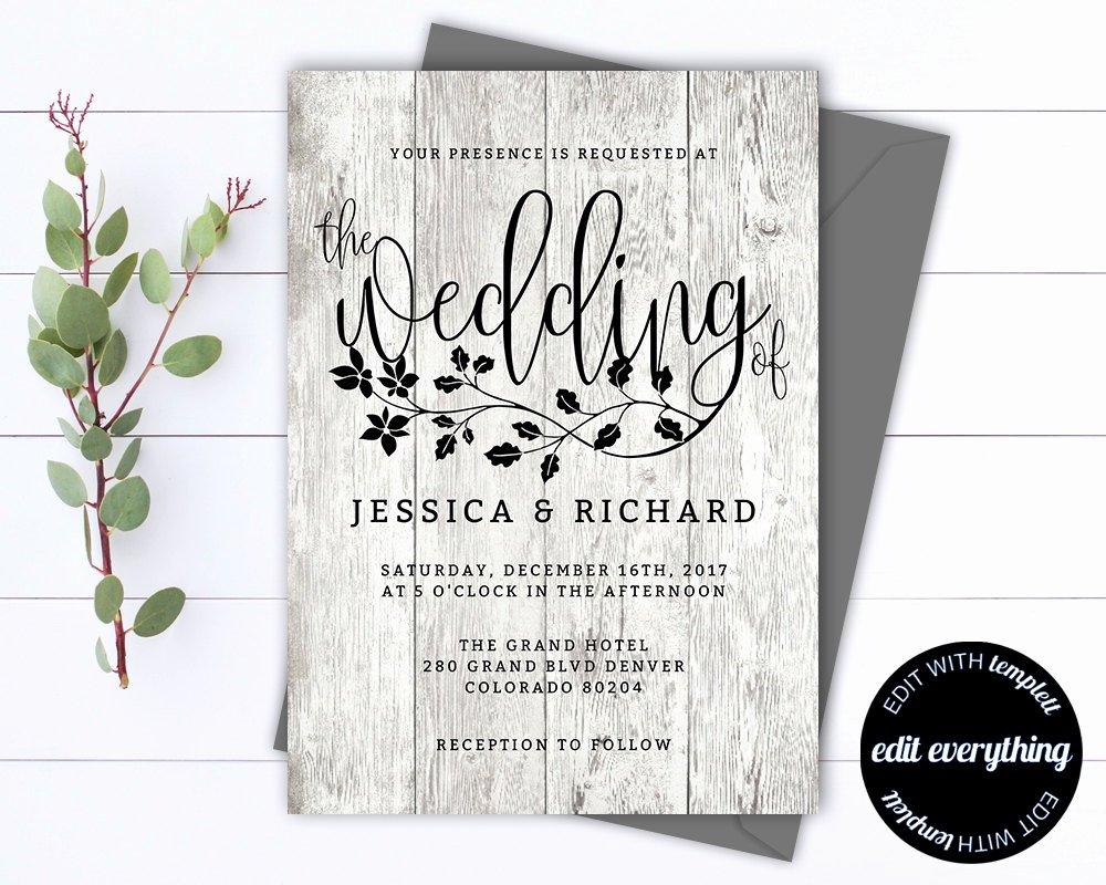 Rustic Wedding Invitation Templates Luxury Rustic Wedding Invitation Template Country Wedding Template