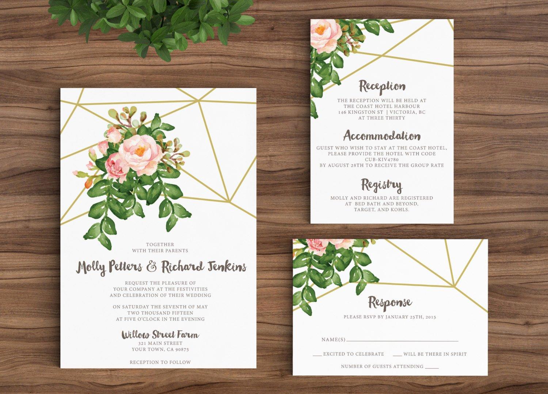 Rustic Wedding Invitation Templates Luxury Wedding Invitation Template Rustic Bohemian Floral