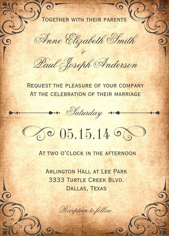 sample wedding invitation wording