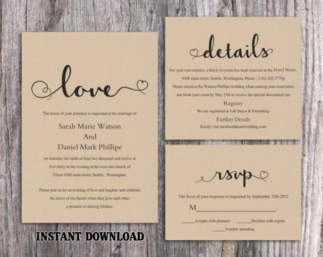 Rustic Wedding Invitation Templates Unique Diy Burlap Wedding Invitation Template Set Editable Word