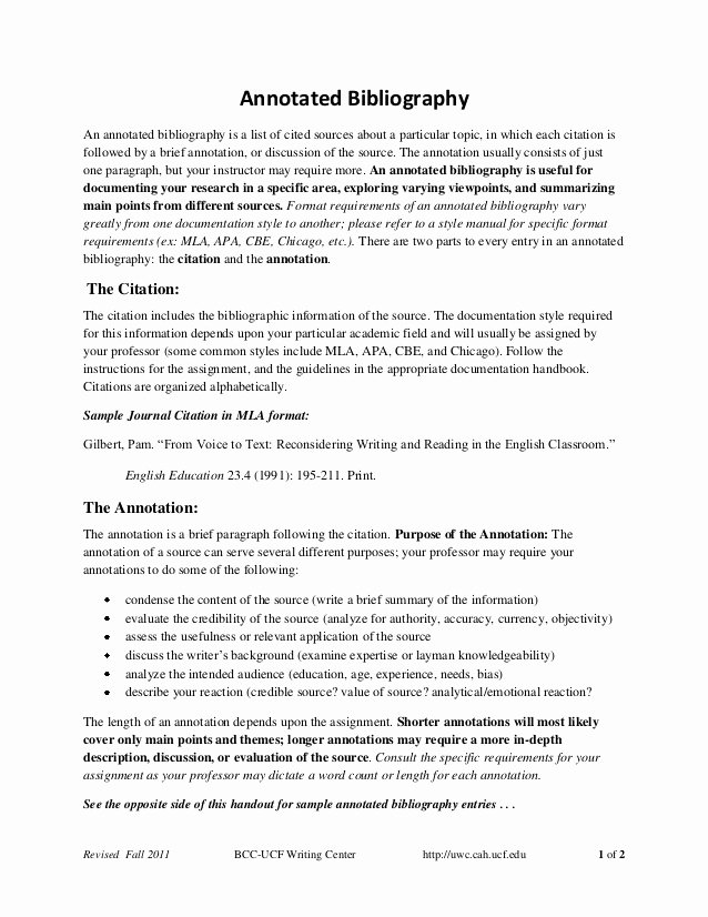 Sample Apa Annotated Bibliography Awesome Annotated Bibliography Handout Fall2011