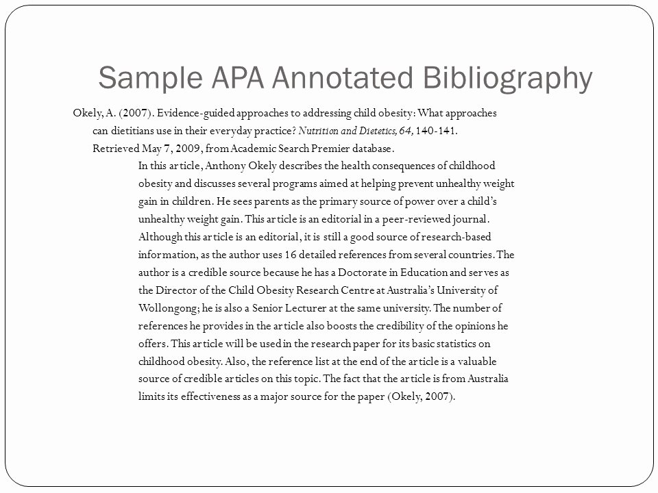 Sample Apa Annotated Bibliography Best Of the Wonderful World Of Annotated Bibliographies Ppt