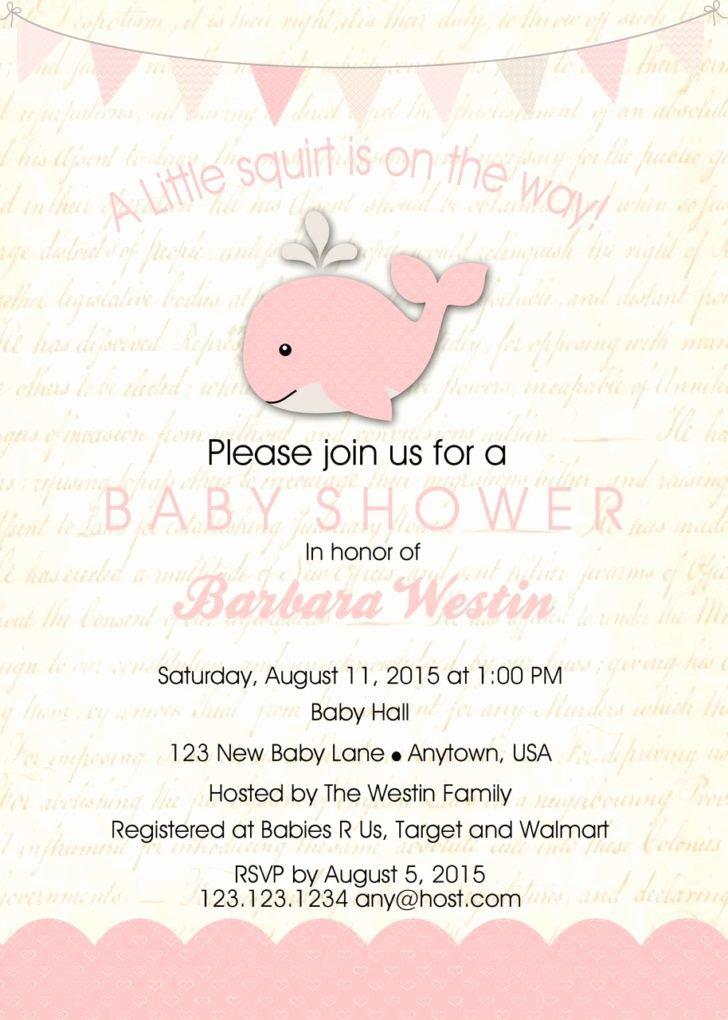 Sample Baby Shower Invitations Fresh Little Squirt Baby Shower Invitation Template Baby Whale