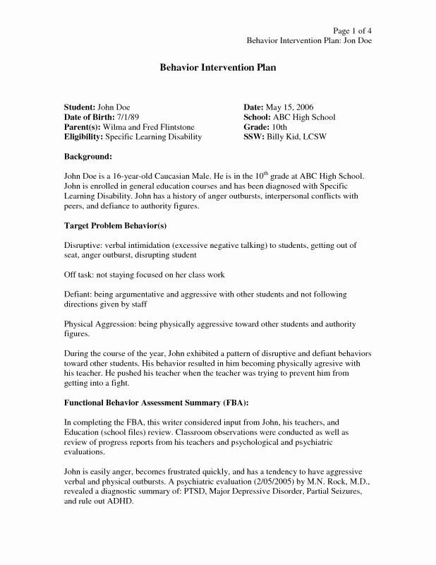 Sample Behavior Intervention Plan Elegant Behavior Intervention Plan Example
