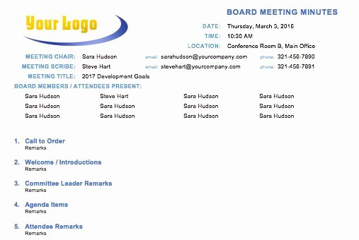 Sample Board Meeting Minutes Awesome Free Meeting Minutes Templates Instructions