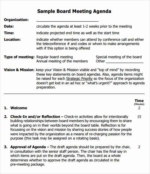 Sample Board Meeting Minutes Best Of 12 Sample Agenda Templates Free Samples Examples format