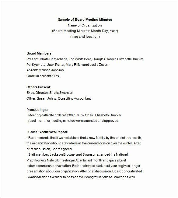 Sample Board Meeting Minutes Best Of 15 Board Meeting Minutes Templates Google Docs Pdf