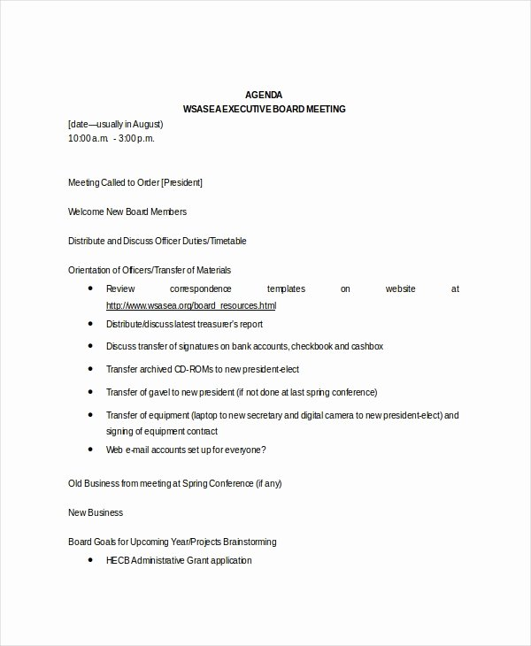 Sample Board Meeting Minutes Best Of Board Meeting Agenda Template – 10 Free Word Pdf
