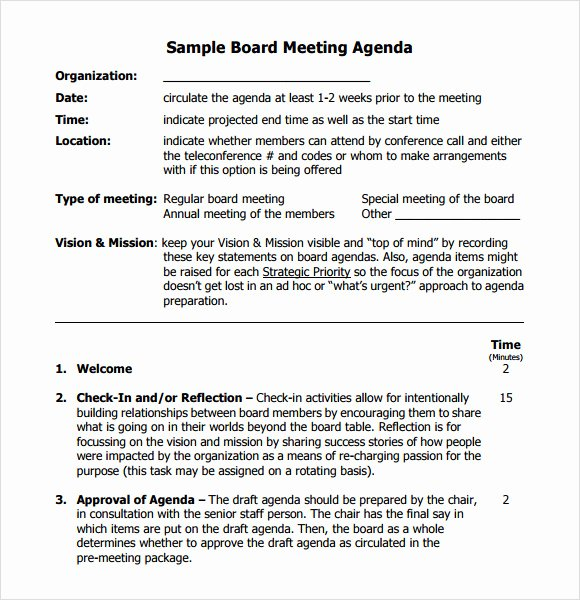 Sample Board Meeting Minutes Elegant Free 11 Board Meeting Agenda Templates In Free Samples