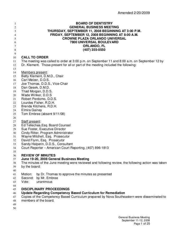 Sample Board Meeting Minutes Elegant Meeting Minutes Dentistry Florida Board Of