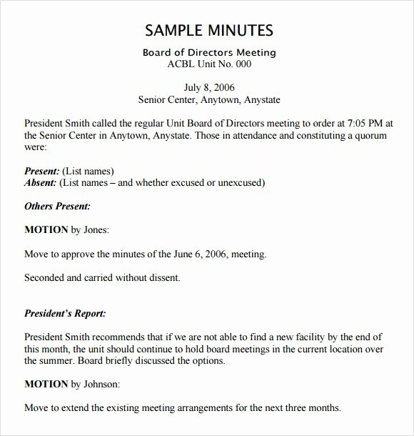 Sample Board Meeting Minutes Fresh Free 11 Board Meeting Agenda Templates In Free Samples