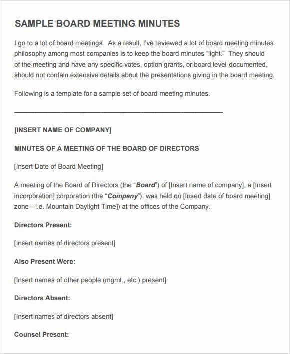 Sample Board Meeting Minutes Fresh Free 11 Sample Board Meeting Agenda Templates In Pdf