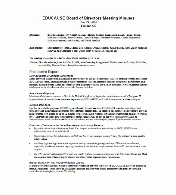 Sample Board Meeting Minutes Inspirational Meeting Minutes Template – 36 Free Word Excel Pdf