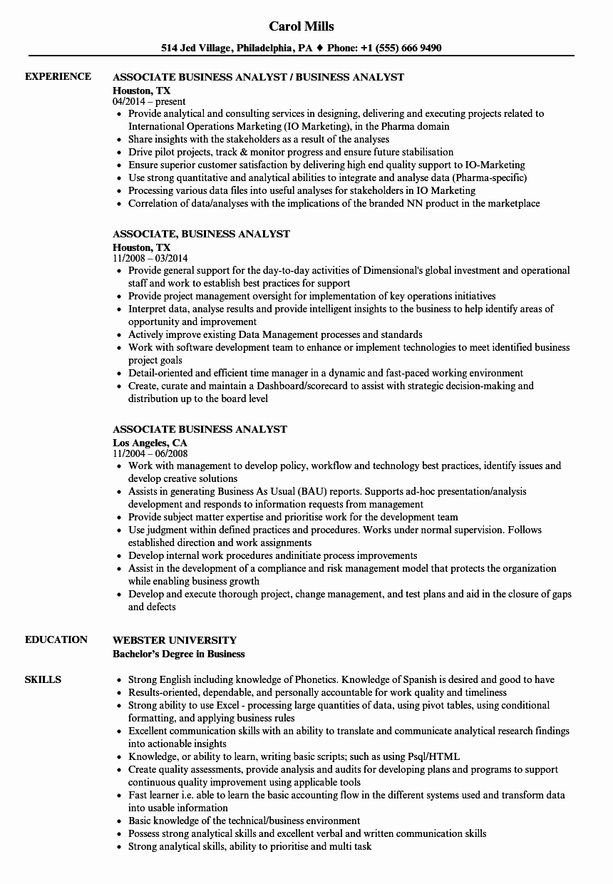 Sample Business Analyst Resume Awesome associate Business Analyst Resume Samples