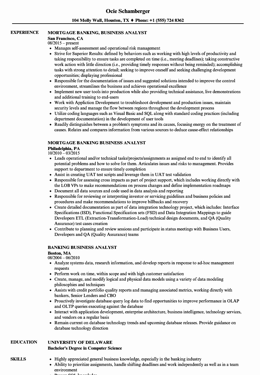 Sample Business Analyst Resume Elegant Banking Business Analyst Resume Samples