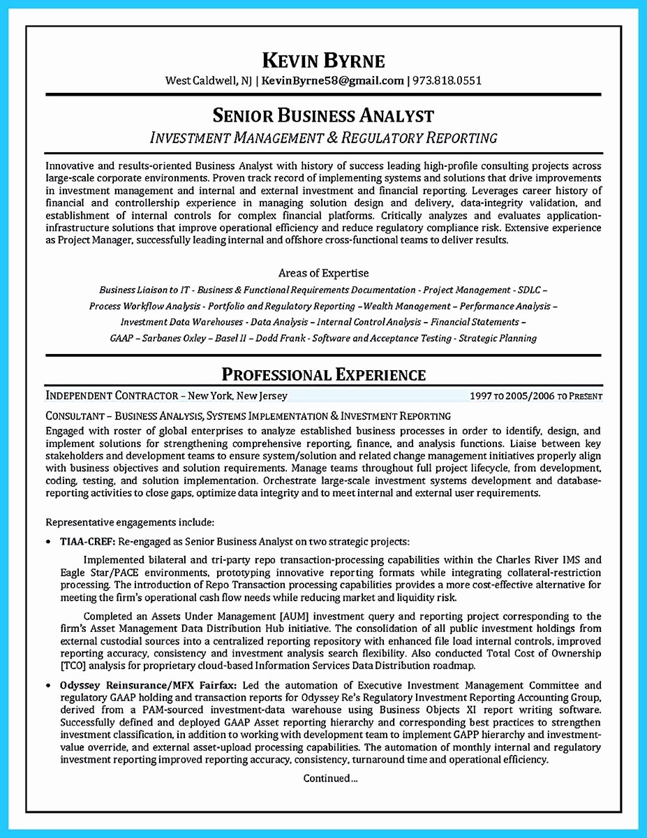 Sample Business Analyst Resume Elegant Create Your astonishing Business Analyst Resume and Gain