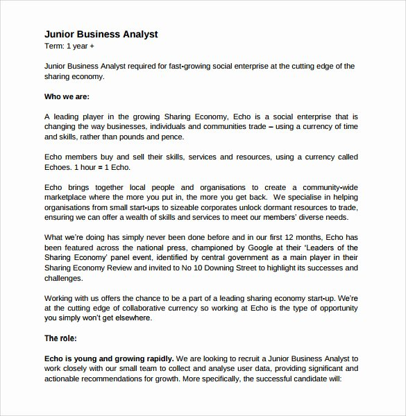 Sample Business Analyst Resume Fresh Sample Business Analyst Resume 8 Documents In Pdf Word