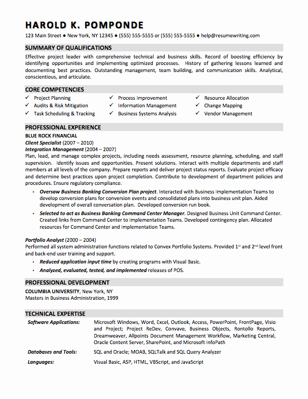 Sample Business Analyst Resume Inspirational Sample Resumes Resumewriting