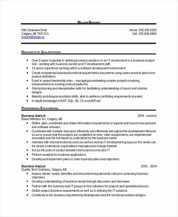 Sample Business Analyst Resume Lovely 28 Free Resume Templates Pdf Doc