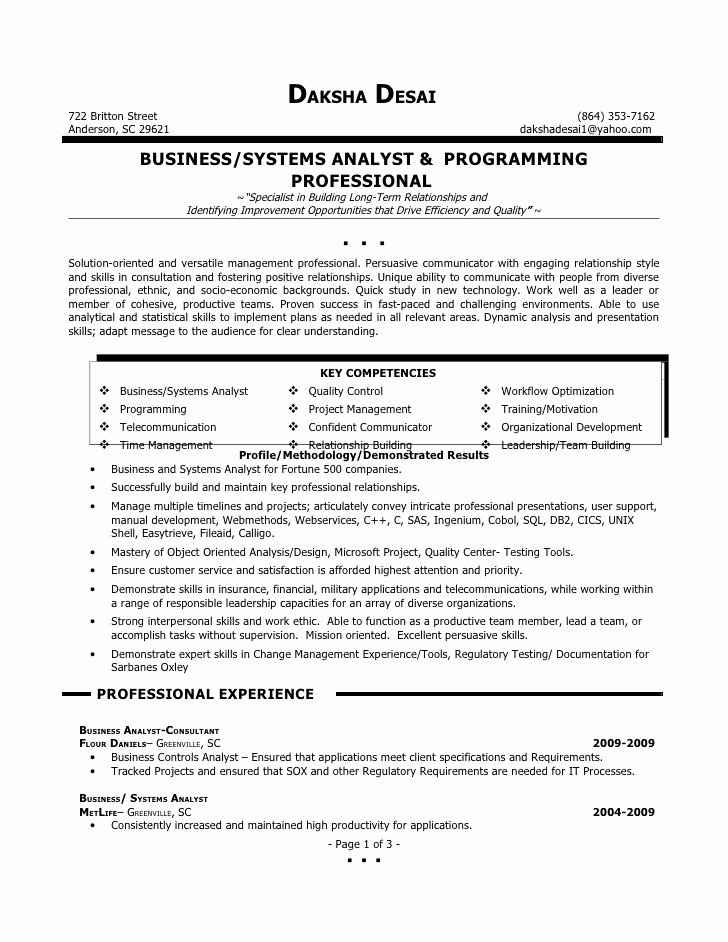Sample Business Analyst Resume Luxury Daksha Desai Resume Business Analyst