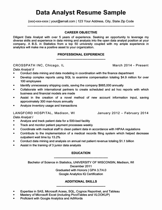 Sample Business Analyst Resume Luxury Data Analyst Resume Sample & Writing Tips