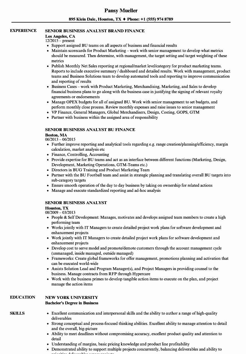 Sample Business Analyst Resume Luxury Senior Business Analyst Resume