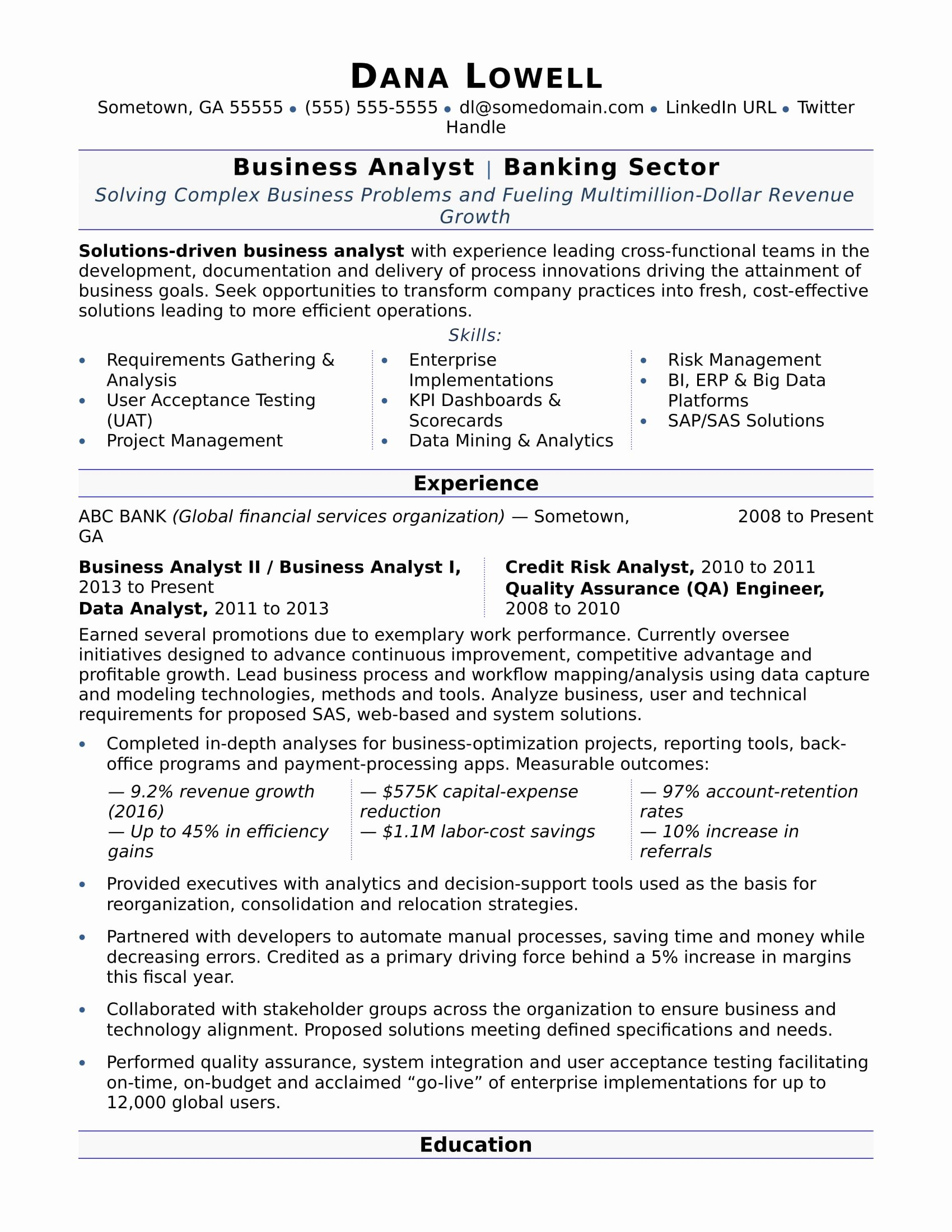 Sample Business Analyst Resume New Business Analyst Resume Sample