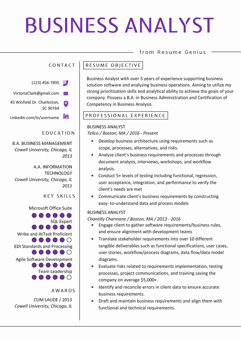 Sample Business Analyst Resume Unique Business Analyst Resume Example & Writing Guide