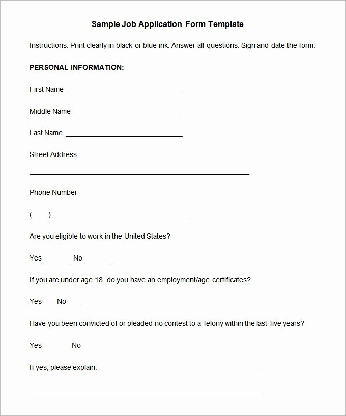 Sample Job Application form Awesome Job Application Template – 10 Free Word Pdf Documents