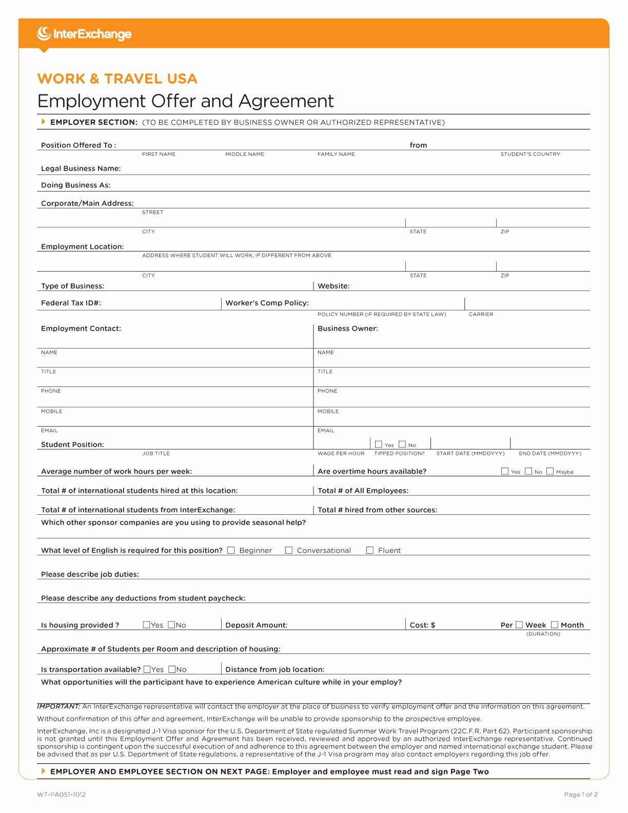 Sample Job Application form Awesome Sample forms · Work & Travel Usa · Interexchange