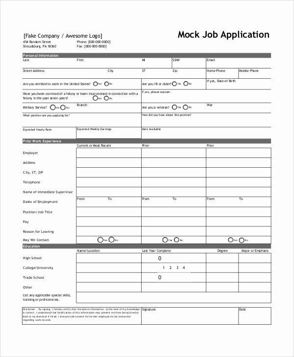 Sample Job Application form Best Of Sample Job Application form 7 Documents In Word Pdf