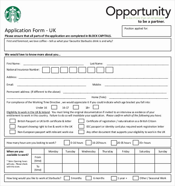 Sample Job Application form Fresh 10 Restaurant Application Templates – Free Sample