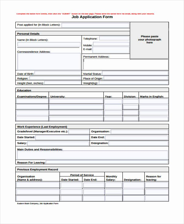 Sample Job Application form Luxury 9 Sample Standard Job Application form Free Sample