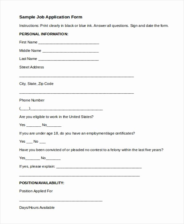 Sample Job Application form Unique 8 Sample Job Application forms Free Sample Example