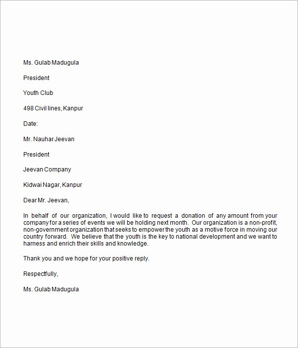 Sample Letters asking for Donations Elegant Donation Request Letter 8 Free Download for Word