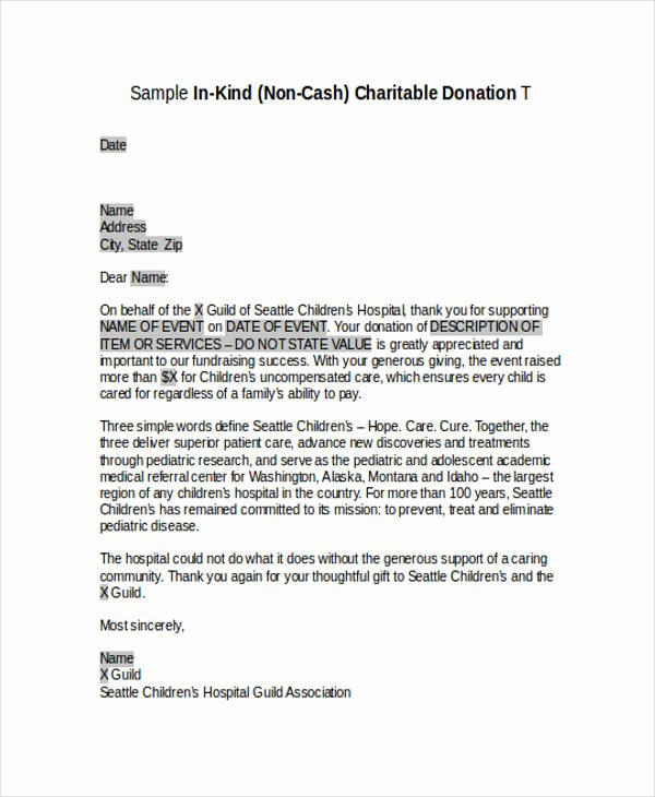 Sample Nonprofit Gift Acknowledgement Letter Beautiful Free 45 Acknowledgement Letter Examples & Samples In Pdf