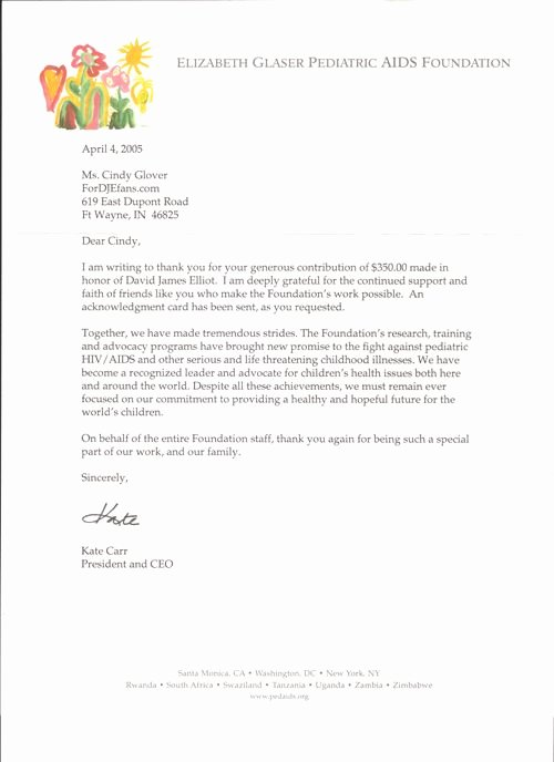 Sample Nonprofit Gift Acknowledgement Letter Luxury Image Result for A T Was Made In Honor Letter