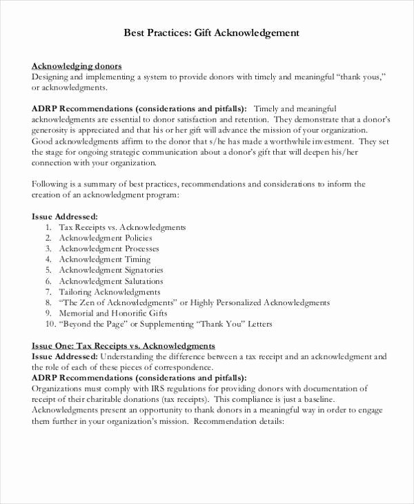 Sample Nonprofit Gift Acknowledgement Letter Unique Gift Acknowledgement Letter Templates 5 Free Word Pdf
