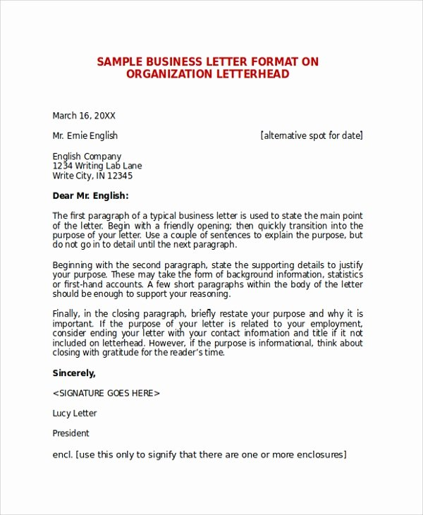 Sample Of Bussiness Letters Best Of Sample Business Letter format 7 Documents In Pdf Word